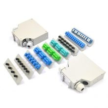 4-24 Cores Din Rail Splice Box with SC/LC/ST/FC adapter and pigtail